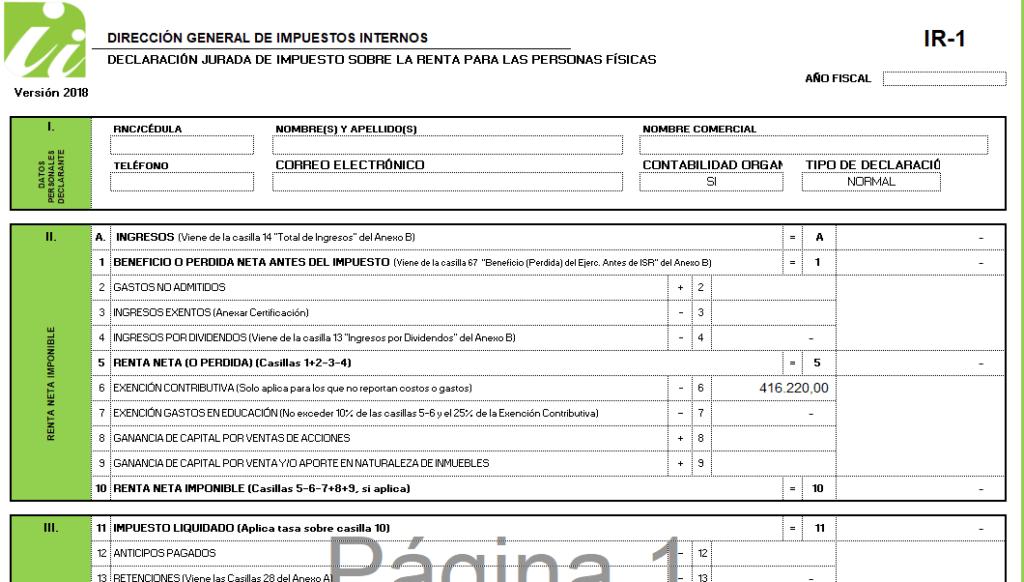 formulario declaración jurada sobre  la renta personas físicas dominicana